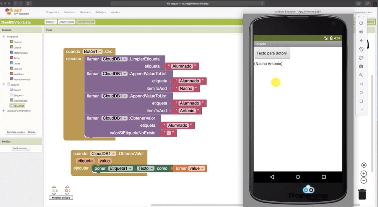 Componentes CloudDB y VisorDeLista en MIT App Inventor – Programamos
