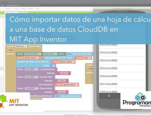 Cómo importar datos de una hoja de cálculo a una base de datos CloudDB en MIT App Inventor
